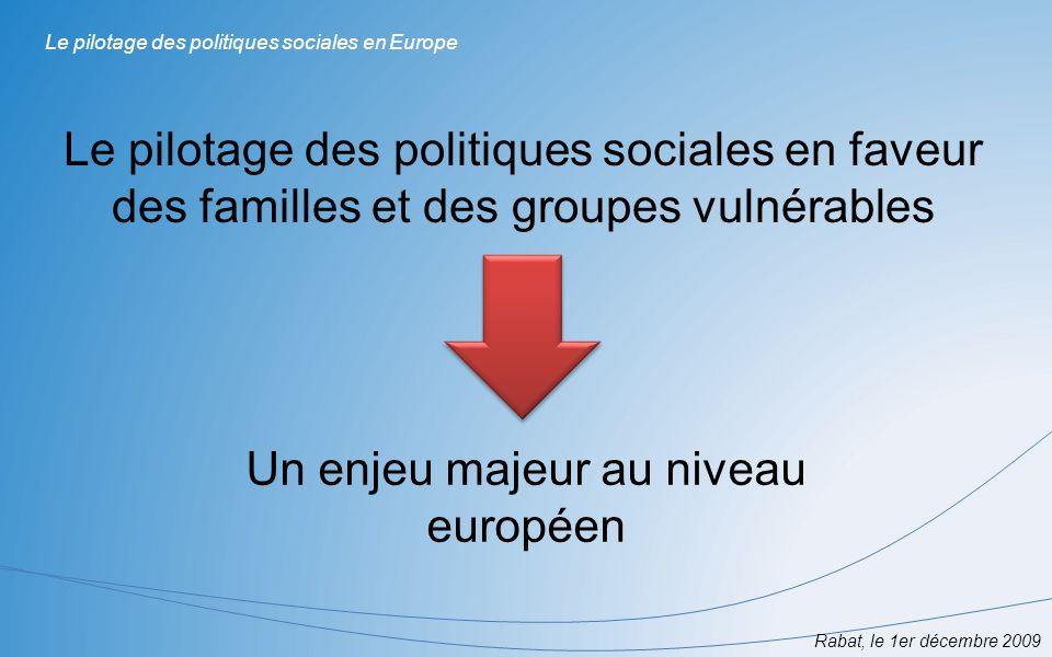 Le pilotage des politiques sociales en faveur des familles et des groupes vulnérables Rabat, le 1er décembre 2009 Le pilotage des politiques sociales