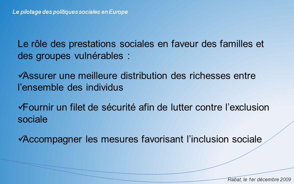 LUnion européenne a pour but notamment : Daméliorer le niveau et la qualité de vie des Européens De promouvoir à la cohésion économique et sociale Nécessité doutils danalyse et de suivi de la situation sociale dans les Etats membres permettant de mesurer limpact des politiques nationales et communautaires Rabat, le 1er décembre 2009 Le pilotage des politiques sociales en Europe