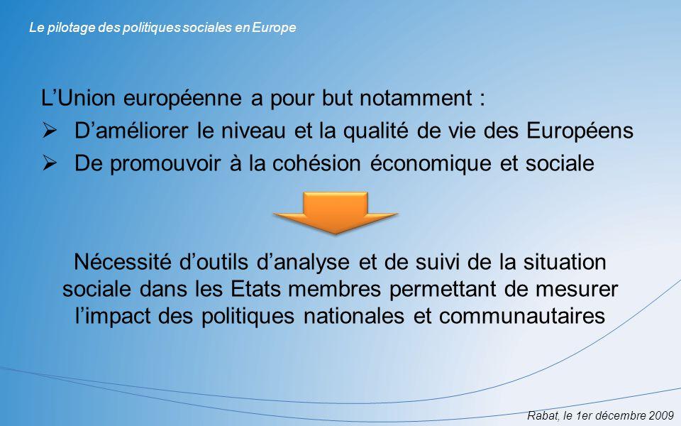 La méthode ouverte de coordination (MOC) : Cadre de coopération entre les Etats membres en vue de faire converger les politiques nationales pour réaliser des objectifs communs notamment dans les domaines de la protection sociale et de linclusion sociale Rabat, le 1er décembre 2009 Le pilotage des politiques sociales en Europe