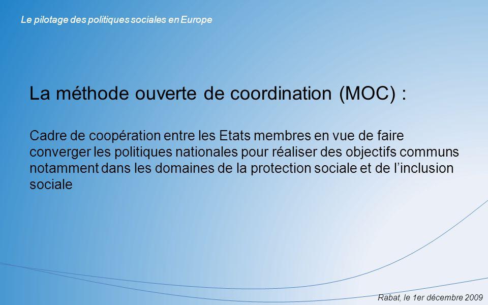 Données statistiques sur le revenu et les conditions de vie des ménages Analyse approfondie des groupes les plus vulnérables Rabat, le 1er décembre 2009 Le pilotage des politiques sociales en Europe