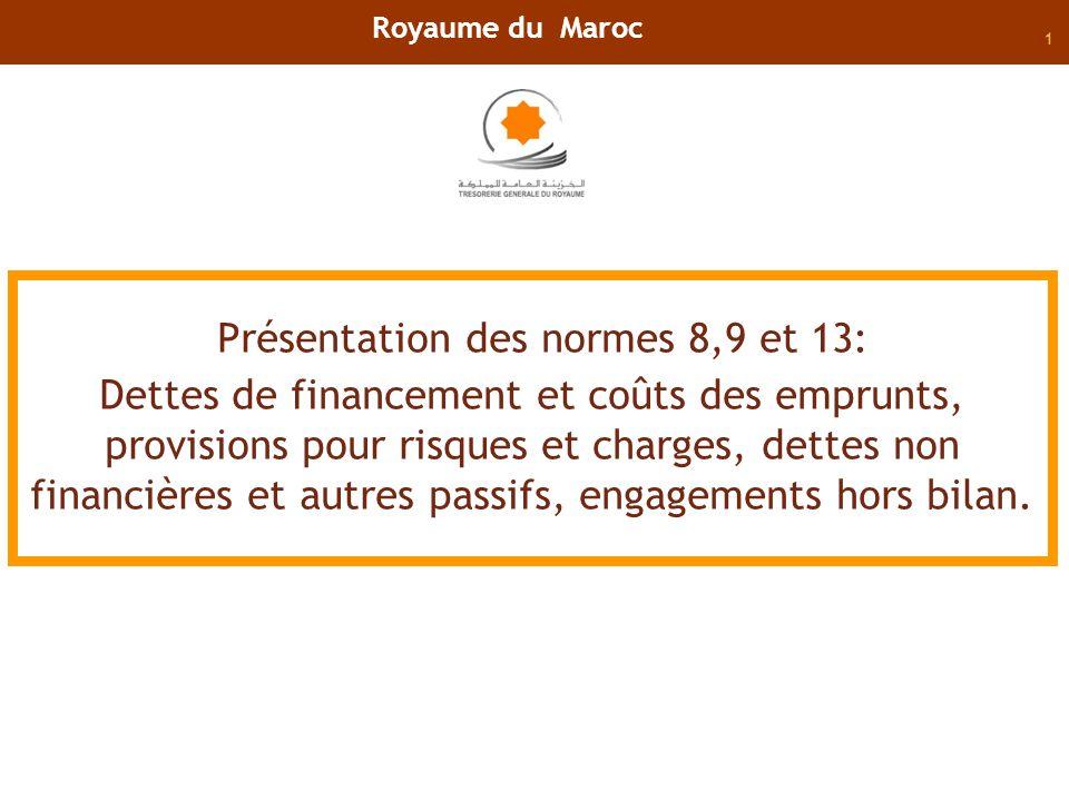 2 Normes 8: Dettes de financement et les coûts demprunts,
