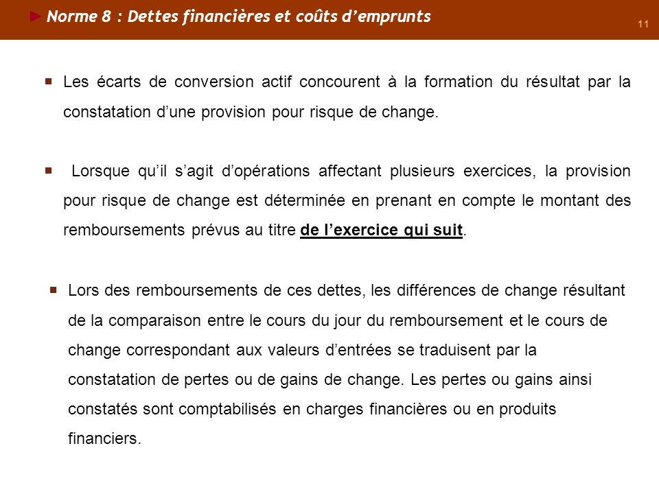 11 Norme 8 : Dettes financières et coûts demprunts Les écarts de conversion actif concourent à la formation du résultat par la constatation dune provi