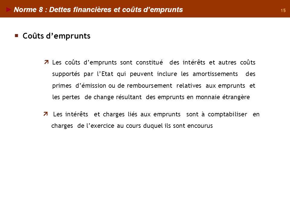 15 Norme 8 : Dettes financières et coûts demprunts Les coûts demprunts sont constitué des intérêts et autres coûts supportés par lEtat qui peuvent inc
