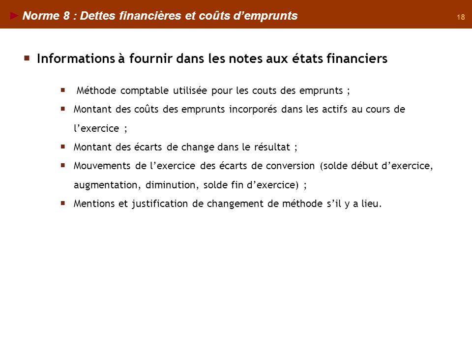 18 Norme 8 : Dettes financières et coûts demprunts Informations à fournir dans les notes aux états financiers Méthode comptable utilisée pour les cout