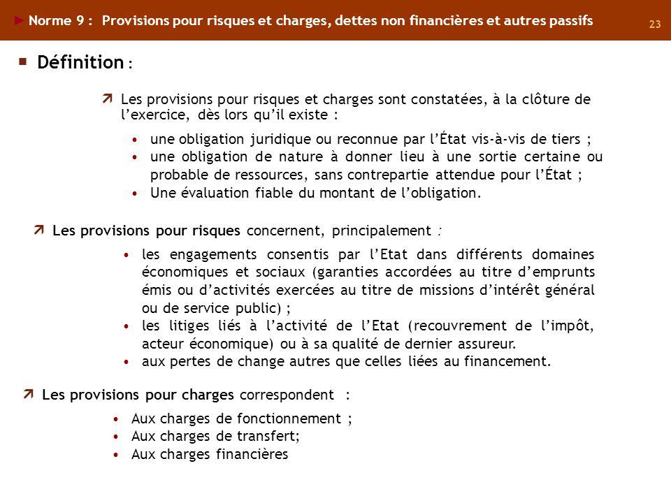 23 Norme 9 : Provisions pour risques et charges, dettes non financières et autres passifs Les provisions pour risques et charges sont constatées, à la