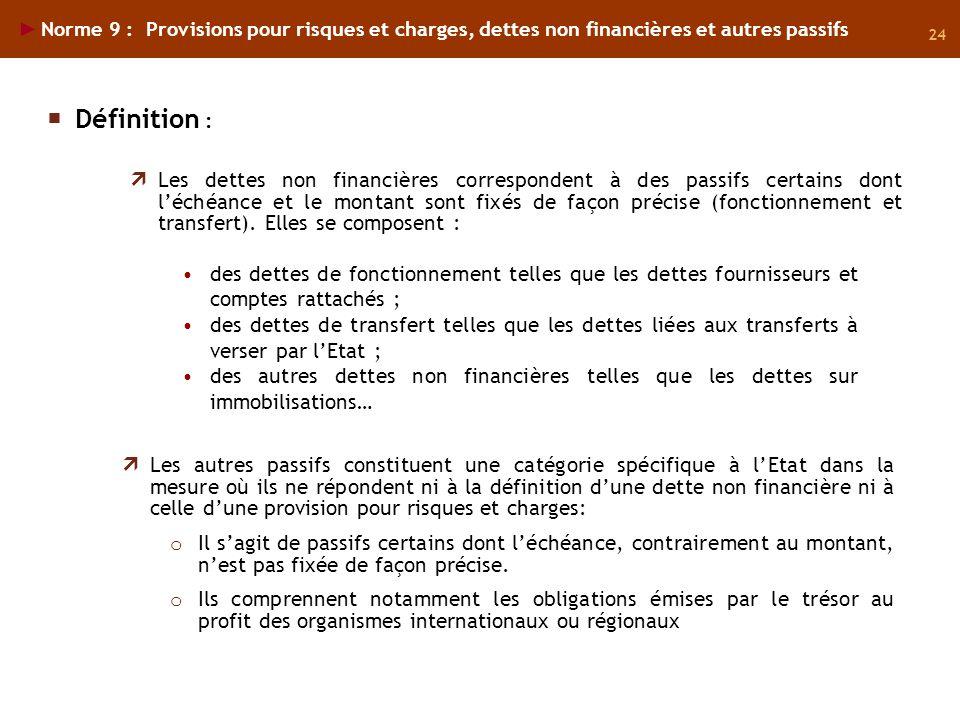24 Norme 9 : Provisions pour risques et charges, dettes non financières et autres passifs des dettes de fonctionnement telles que les dettes fournisse