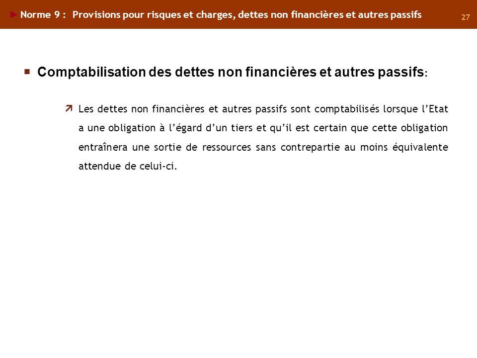 27 Norme 9 : Provisions pour risques et charges, dettes non financières et autres passifs Les dettes non financières et autres passifs sont comptabili