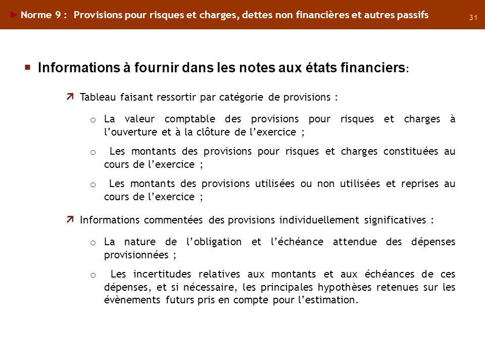 31 Norme 9 : Provisions pour risques et charges, dettes non financières et autres passifs Tableau faisant ressortir par catégorie de provisions : o La