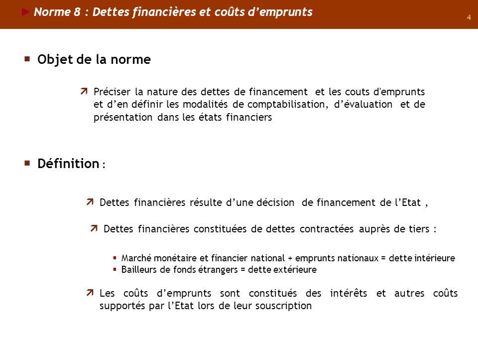4 Objet de la norme Préciser la nature des dettes de financement et les couts d'emprunts et den définir les modalités de comptabilisation, dévaluation