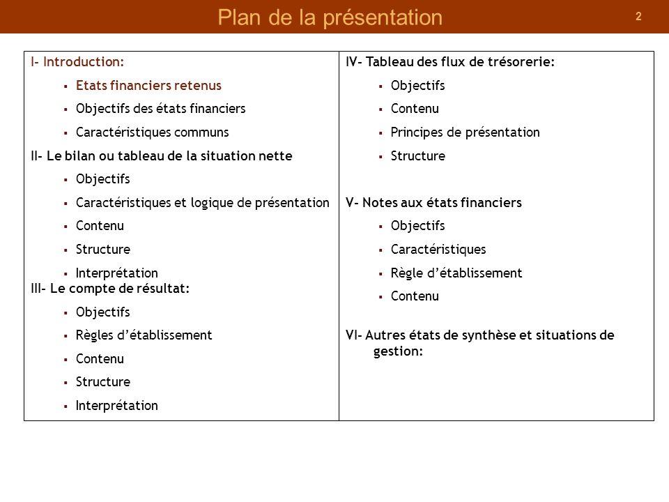 2 Plan de la présentation I- Introduction: Etats financiers retenus Objectifs des états financiers Caractéristiques communs II- Le bilan ou tableau de