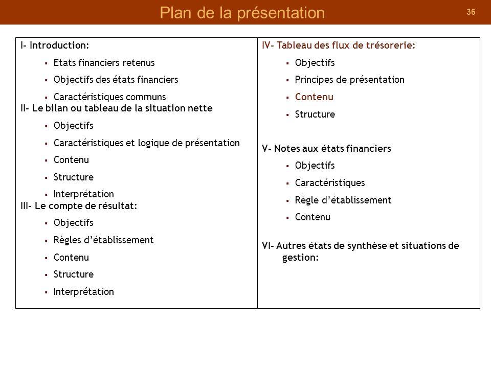 36 Plan de la présentation I- Introduction: Etats financiers retenus Objectifs des états financiers Caractéristiques communs II- Le bilan ou tableau d