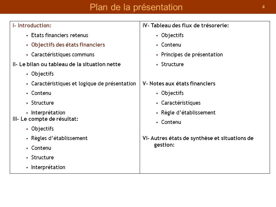 4 Plan de la présentation I- Introduction: Etats financiers retenus Objectifs des états financiers Caractéristiques communs II- Le bilan ou tableau de