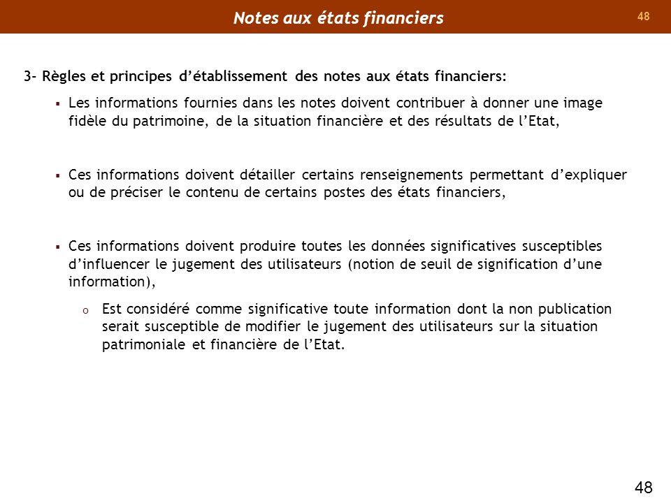 48 3- Règles et principes détablissement des notes aux états financiers: Les informations fournies dans les notes doivent contribuer à donner une imag