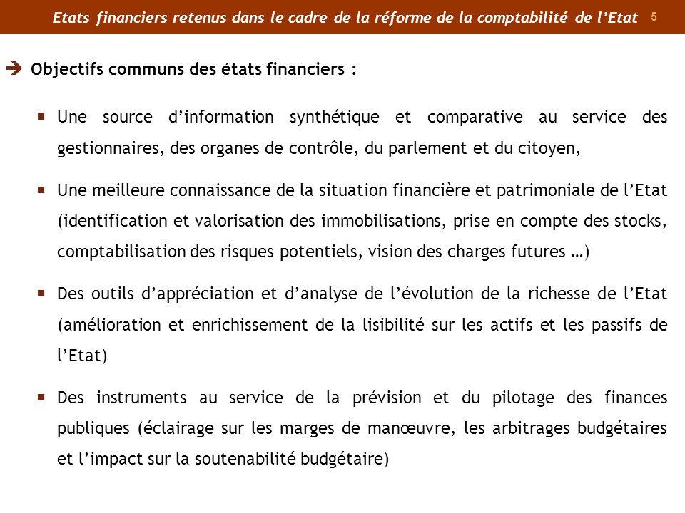 5 Etats financiers retenus dans le cadre de la réforme de la comptabilité de lEtat Une source dinformation synthétique et comparative au service des g