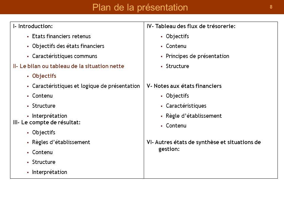 8 Plan de la présentation I- Introduction: Etats financiers retenus Objectifs des états financiers Caractéristiques communs II- Le bilan ou tableau de