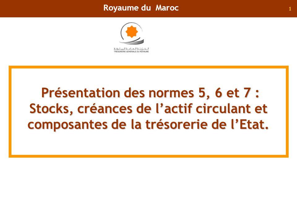 1 Présentation des normes 5, 6 et 7 : Stocks, créances de lactif circulant et composantes de la trésorerie de lEtat. Royaume du Maroc