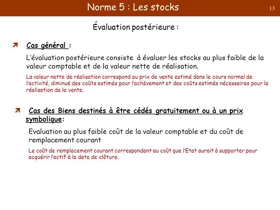 13 Cas général : Lévaluation postérieure consiste à évaluer les stocks au plus faible de la valeur comptable et de la valeur nette de réalisation. La