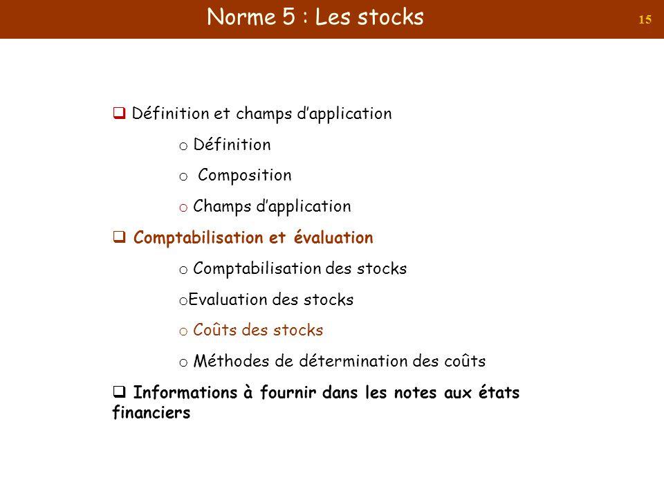 15 Définition et champs dapplication o Définition o Composition o Champs dapplication Comptabilisation et évaluation o Comptabilisation des stocks o E