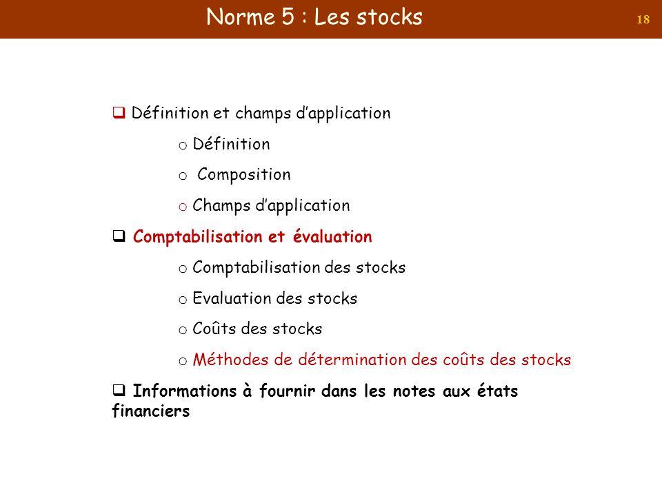 18 Définition et champs dapplication o Définition o Composition o Champs dapplication Comptabilisation et évaluation o Comptabilisation des stocks o E