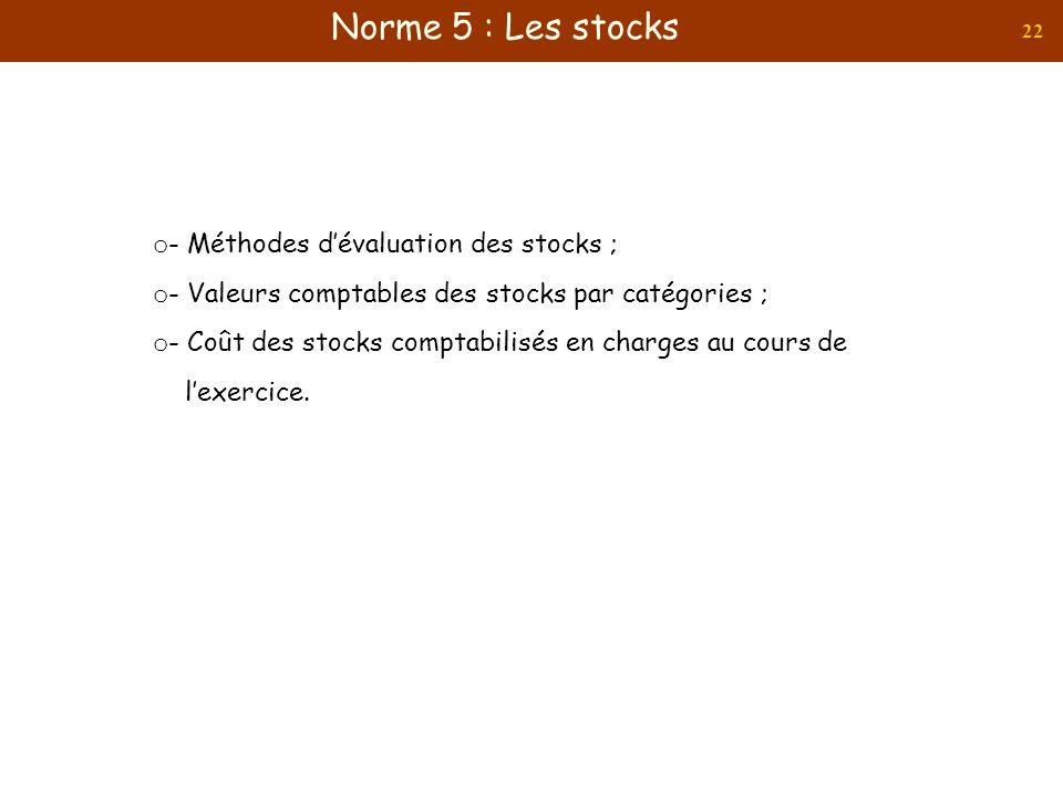 22 o - Méthodes dévaluation des stocks ; o - Valeurs comptables des stocks par catégories ; o - Coût des stocks comptabilisés en charges au cours de l