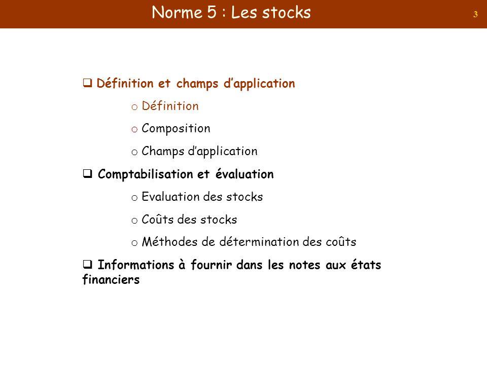 3 Définition et champs dapplication o Définition o Composition o Champs dapplication Comptabilisation et évaluation o Evaluation des stocks o Coûts de