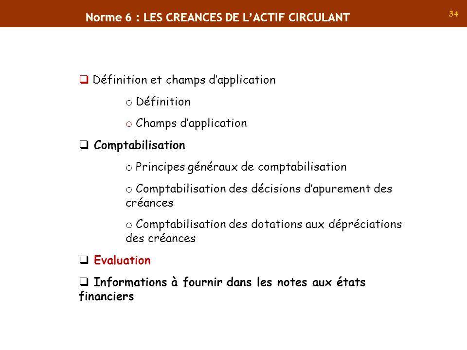 34 Norme 6 : LES CREANCES DE LACTIF CIRCULANT Définition et champs dapplication o Définition o Champs dapplication Comptabilisation o Principes généra
