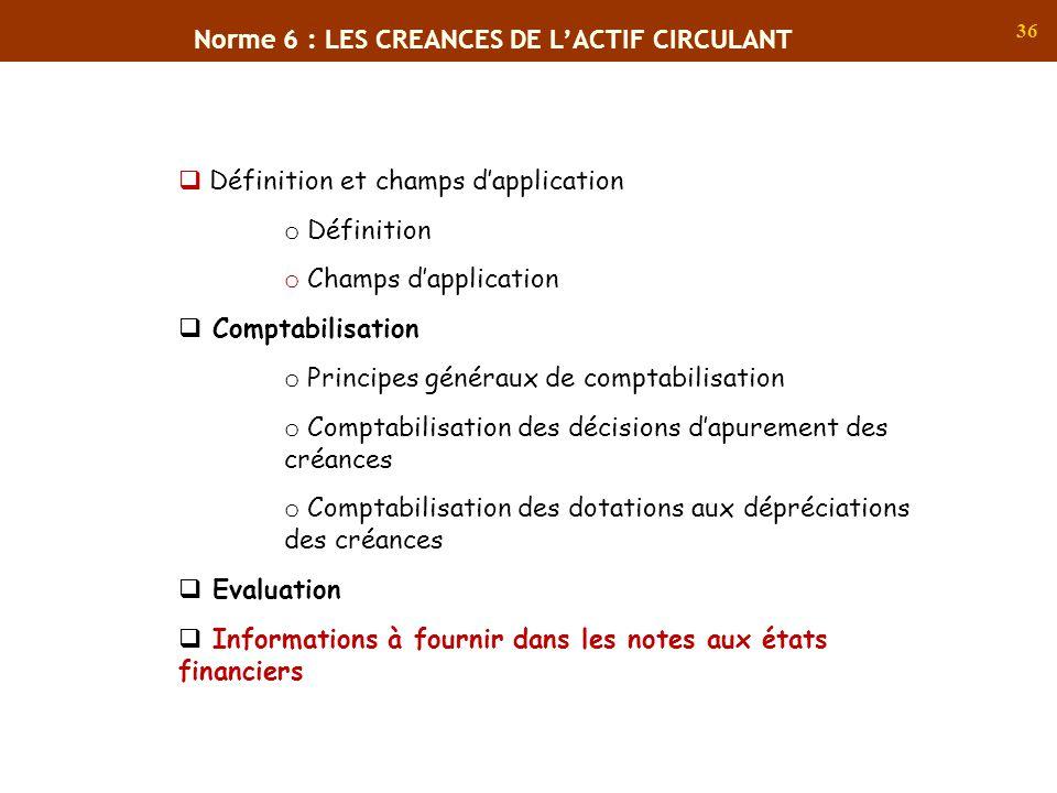 36 Norme 6 : LES CREANCES DE LACTIF CIRCULANT Définition et champs dapplication o Définition o Champs dapplication Comptabilisation o Principes généra