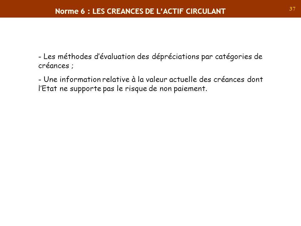 37 Norme 6 : LES CREANCES DE LACTIF CIRCULANT - Les méthodes dévaluation des dépréciations par catégories de créances ; - Une information relative à l