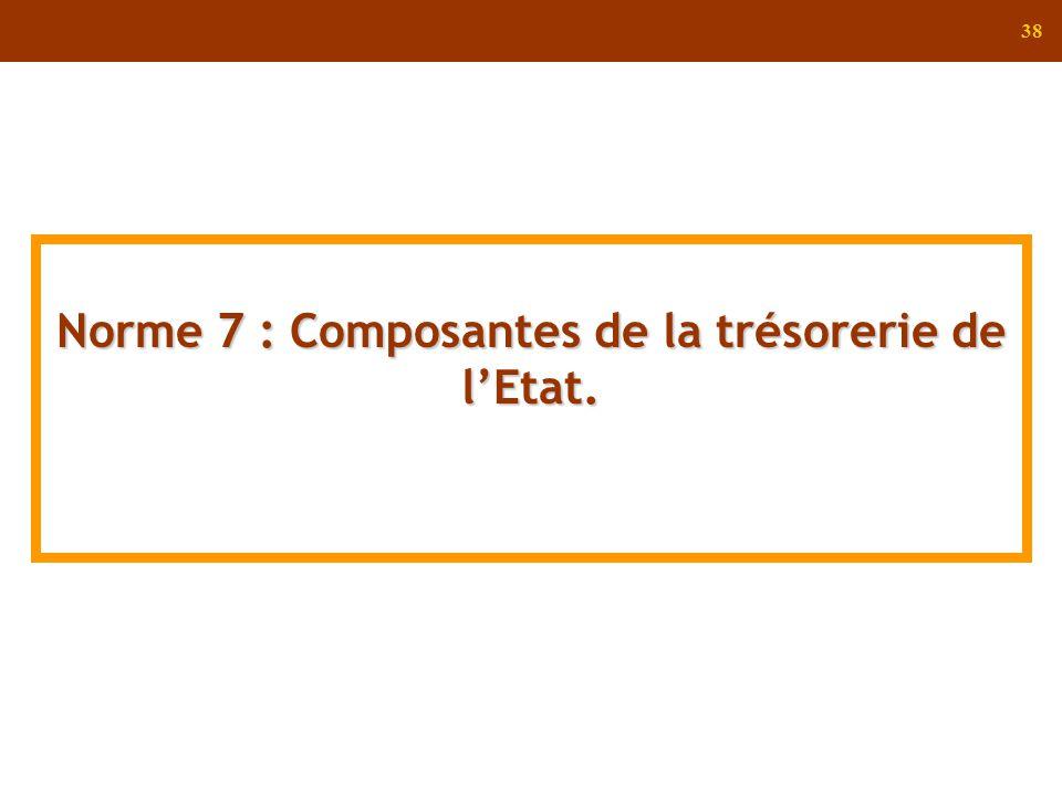 38 Norme 7 : Composantes de la trésorerie de lEtat.