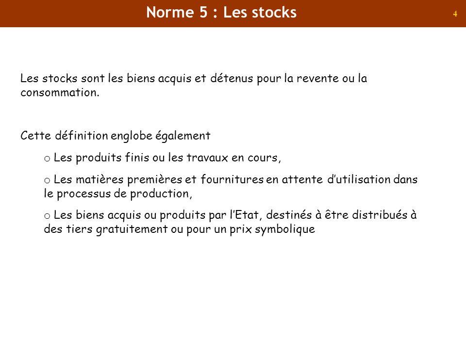 4 Les stocks sont les biens acquis et détenus pour la revente ou la consommation. Cette définition englobe également o Les produits finis ou les trava