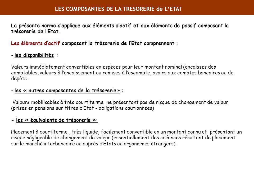 La présente norme sapplique aux éléments dactif et aux éléments de passif composant la trésorerie de lEtat. Les éléments dactif composant la trésoreri