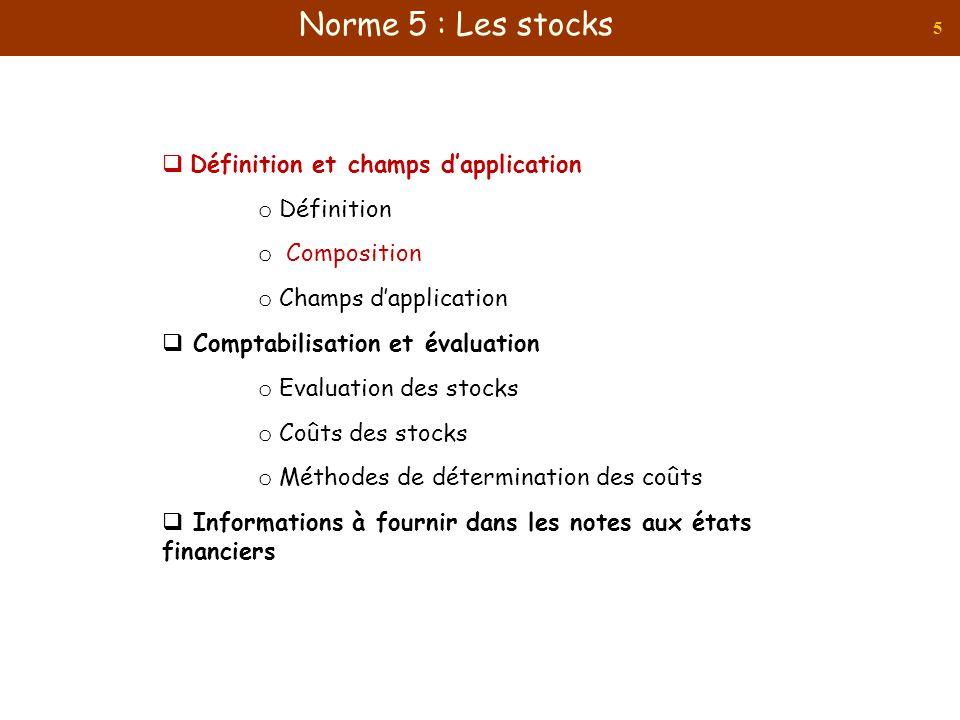 5 Définition et champs dapplication o Définition o Composition o Champs dapplication Comptabilisation et évaluation o Evaluation des stocks o Coûts de