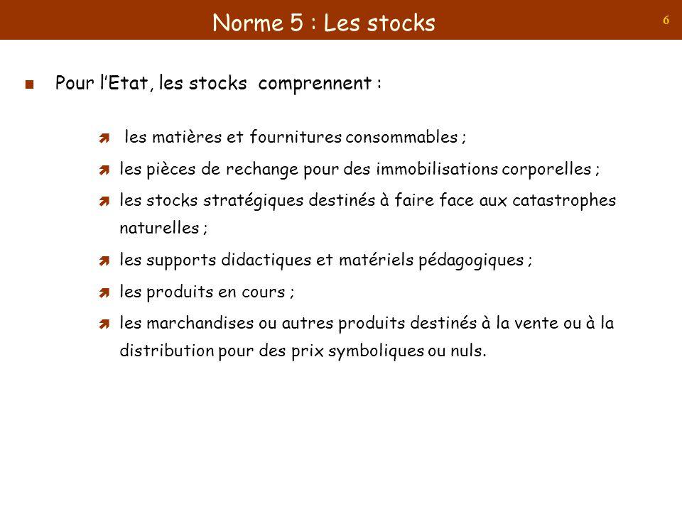 6 Pour lEtat, les stocks comprennent : les matières et fournitures consommables ; les pièces de rechange pour des immobilisations corporelles ; les st