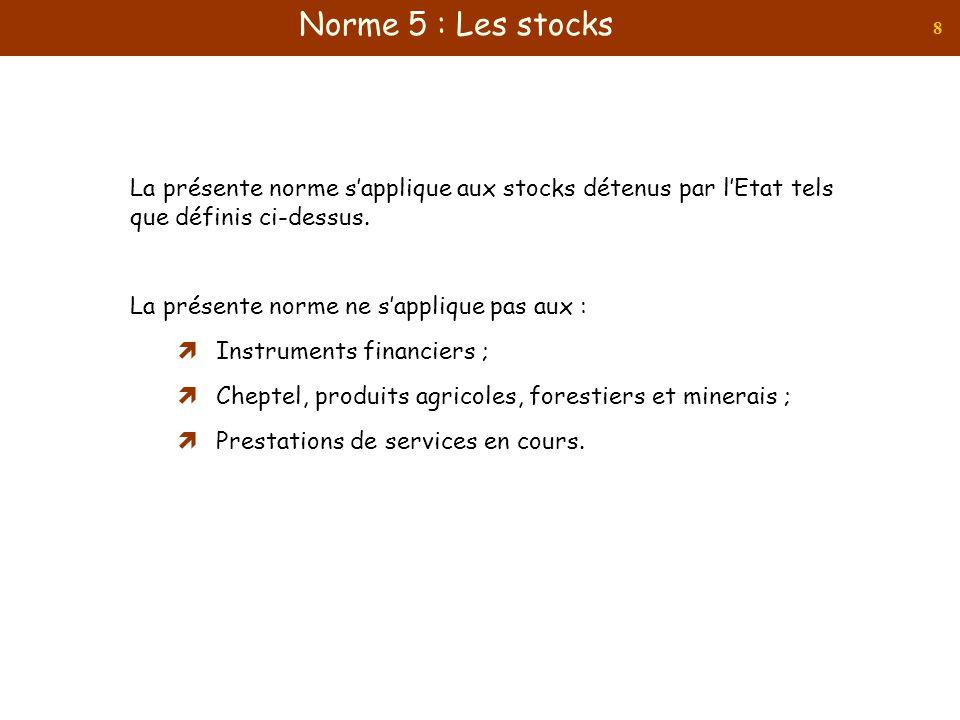 8 La présente norme sapplique aux stocks détenus par lEtat tels que définis ci-dessus. La présente norme ne sapplique pas aux : Instruments financiers