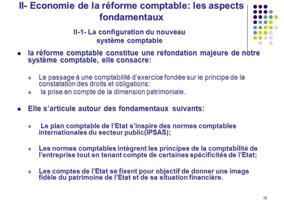 10 II- Economie de la réforme comptable: les aspects fondamentaux la réforme comptable constitue une refondation majeure de notre système comptable, e