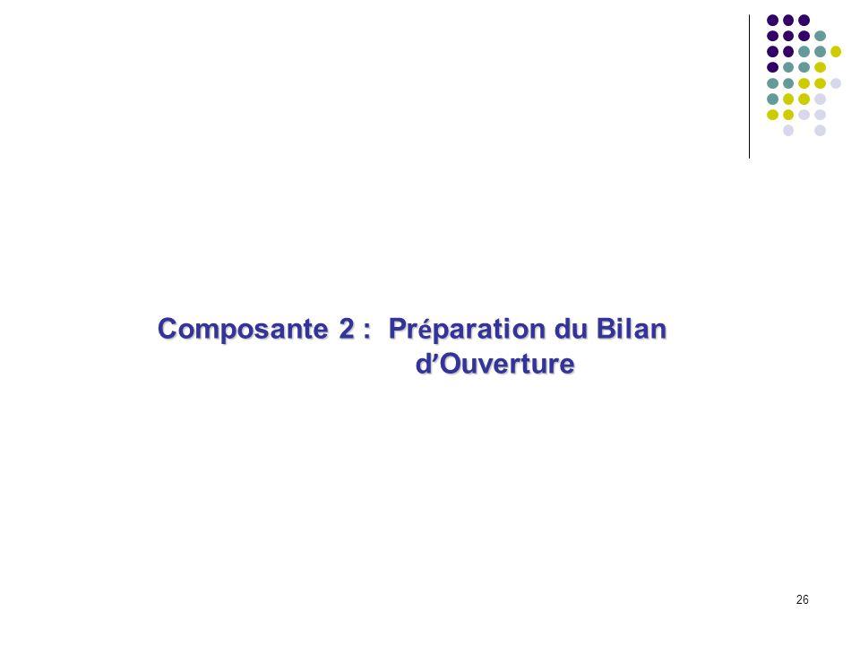 26 Composante 2 : Pr é paration du Bilan d Ouverture d Ouverture