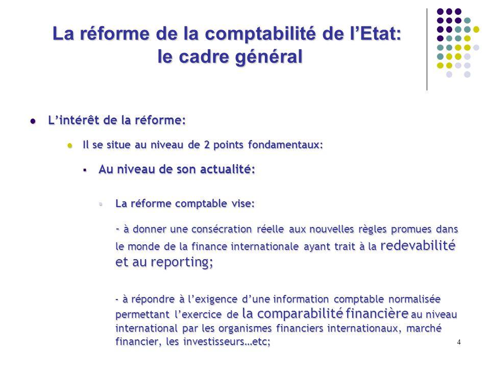 4 La réforme de la comptabilité de lEtat: le cadre général Lintérêt de la réforme: Lintérêt de la réforme: Il se situe au niveau de 2 points fondament