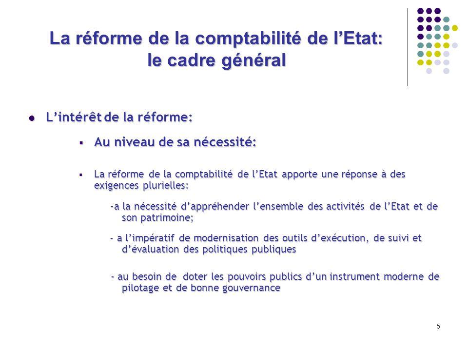 5 La réforme de la comptabilité de lEtat: le cadre général Lintérêt de la réforme: Lintérêt de la réforme: Au niveau de sa nécessité: Au niveau de sa