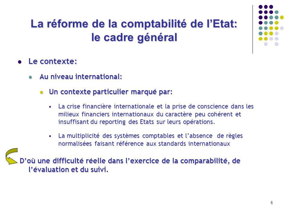 6 La réforme de la comptabilité de lEtat: le cadre général Le contexte: Le contexte: Au niveau international: Au niveau international: Un contexte par