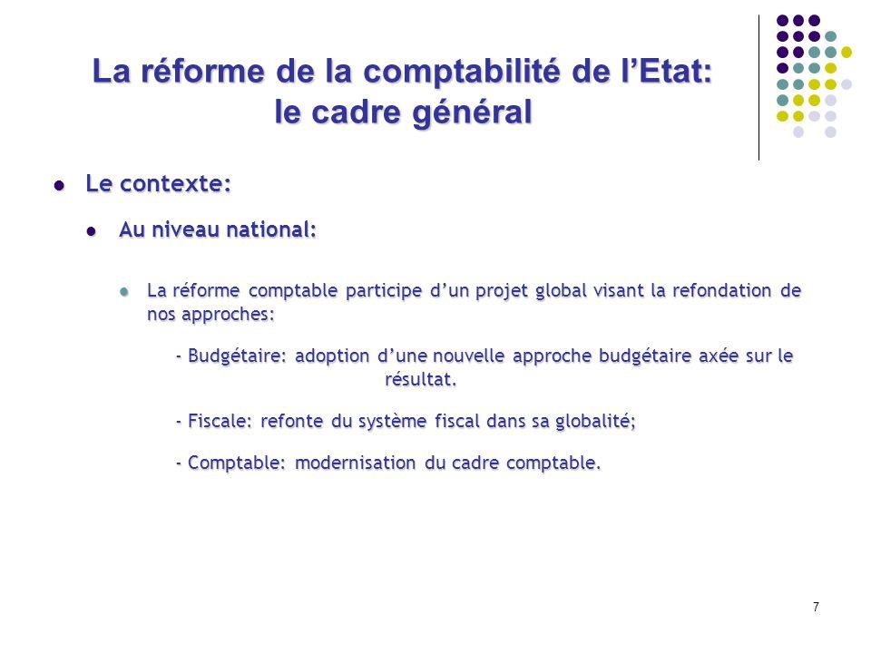 7 La réforme de la comptabilité de lEtat: le cadre général Le contexte: Le contexte: Au niveau national: Au niveau national: La réforme comptable part