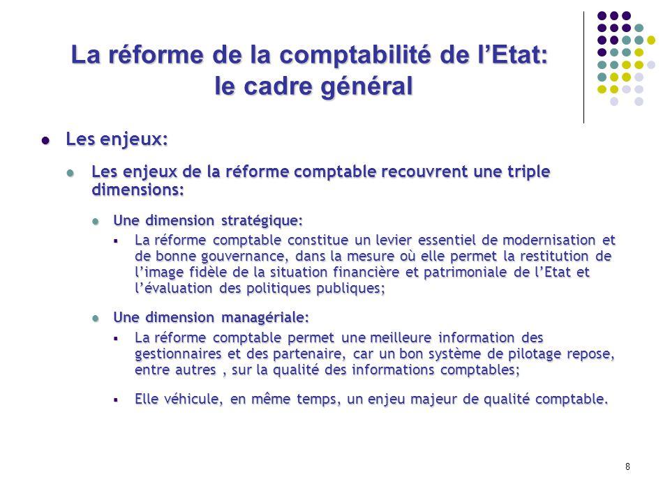 8 La réforme de la comptabilité de lEtat: le cadre général Les enjeux: Les enjeux: Les enjeux de la réforme comptable recouvrent une triple dimensions
