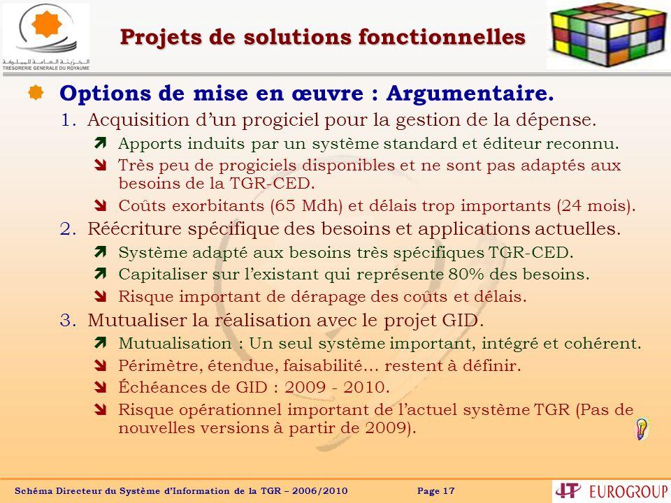 Schéma Directeur du Système dInformation de la TGR – 2006/2010 Page 17 Options de mise en œuvre : Argumentaire.