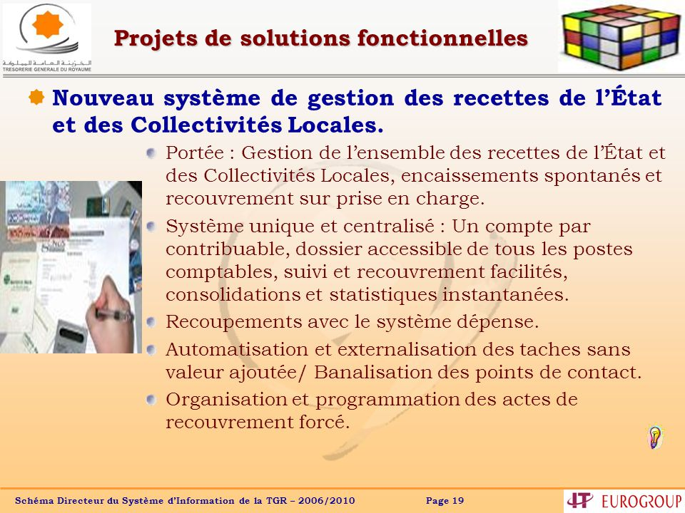 Schéma Directeur du Système dInformation de la TGR – 2006/2010 Page 19 Projets de solutions fonctionnelles Nouveau système de gestion des recettes de lÉtat et des Collectivités Locales.