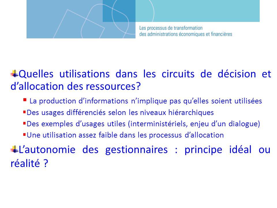 Quelles utilisations dans les circuits de décision et dallocation des ressources.