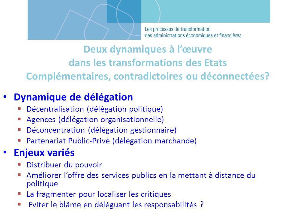 Deux dynamiques à lœuvre dans les transformations des Etats Complémentaires, contradictoires ou déconnectées.