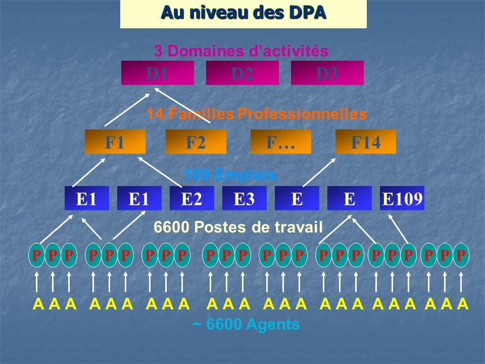 Au niveau des DPA 14 Familles Professionnelles F1F2F…F14 3 Domaines dactivités D1D2D3 AAA PPP ~ 6600 Agents 6600 Postes de travail AAA PPP AAA PPP AAA