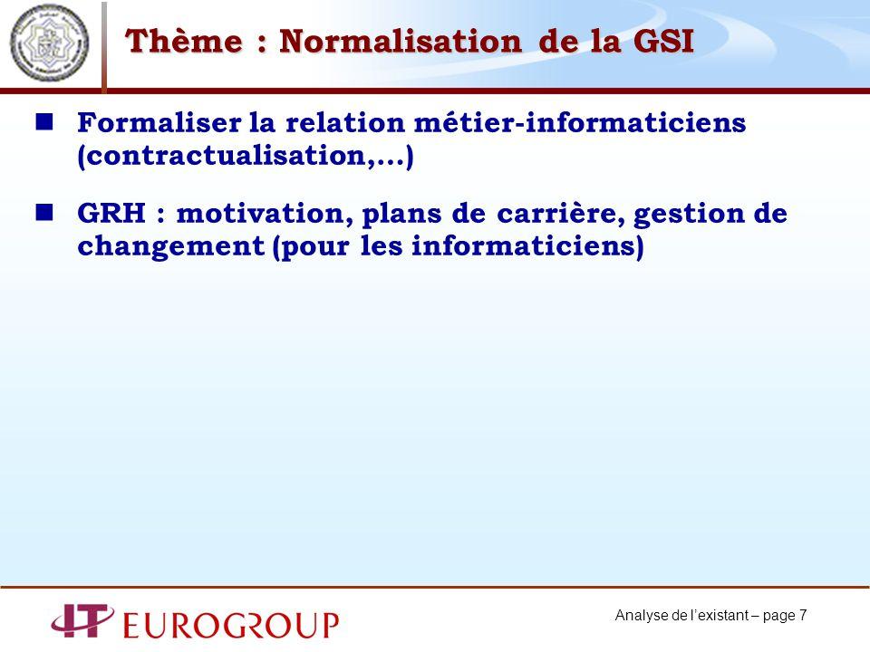 Analyse de lexistant – page 7 Thème : Normalisation de la GSI Formaliser la relation métier-informaticiens (contractualisation,…) GRH : motivation, plans de carrière, gestion de changement (pour les informaticiens)