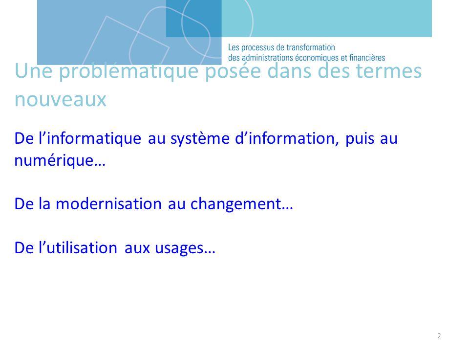 2 Une problématique posée dans des termes nouveaux De linformatique au système dinformation, puis au numérique… De la modernisation au changement… De lutilisation aux usages…