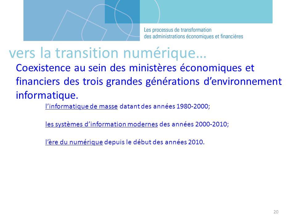 20 Coexistence au sein des ministères économiques et financiers des trois grandes générations denvironnement informatique. linformatique de masse data