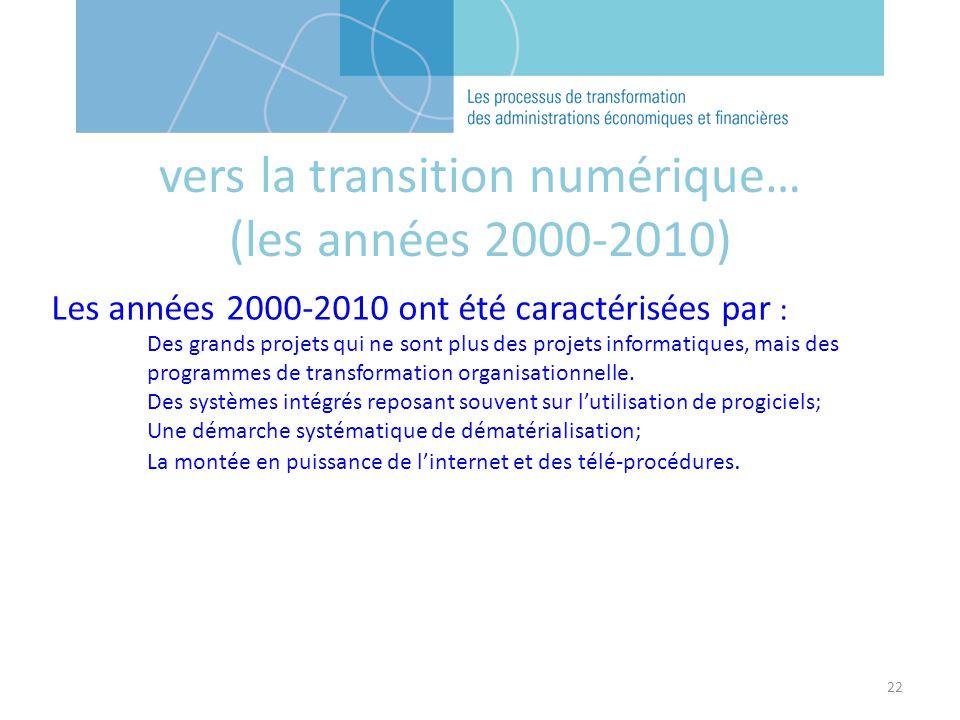 22 Les années 2000-2010 ont été caractérisées par : Des grands projets qui ne sont plus des projets informatiques, mais des programmes de transformation organisationnelle.